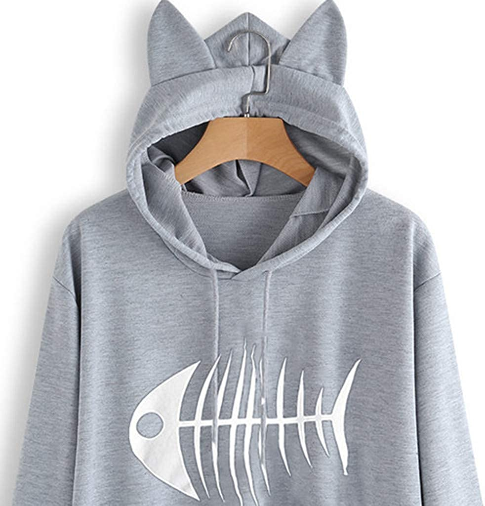 Trolimons Womens Casual Cat Ears Sweatshirt Long Sleeve Fish Bone Pattern Printing Hooded Loose Solid Color Pullover