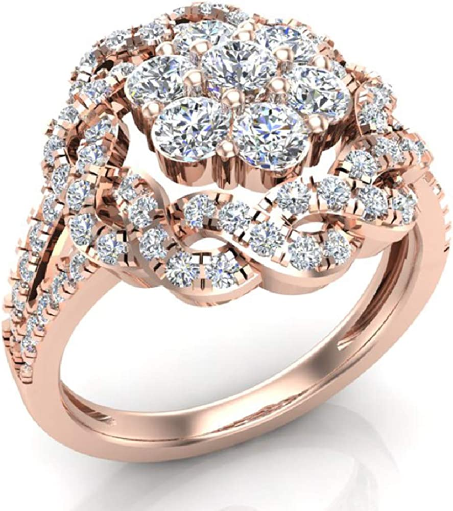 1.40 ct tw Braided Halo Split Shank with Illusion Solitaire Cluster Ring 18K Gold (G, VS)