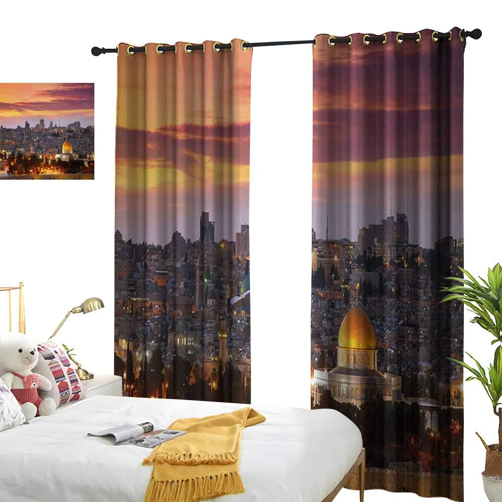 """LewisColeridge Bedroom Curtains Landscape,Ancient Old City Jerusalem Historical Religious Center Israel Twilight View,Gold Coral Lilac,Thermal Insulated Room Darkening Window Shade 120""""x96"""""""