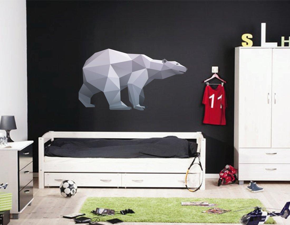 cik379 Full Color Wall decal polar bear polar geometric animals living bedroom by StickersForLife (Image #1)