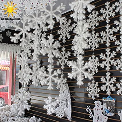 Amazon.com : 30Pcs White Snowflake Christmas Ornaments Holiday Festival  Party Home Decor Decoracion Navidad New Year Gift : Everything Else - Amazon.com : 30Pcs White Snowflake Christmas Ornaments Holiday