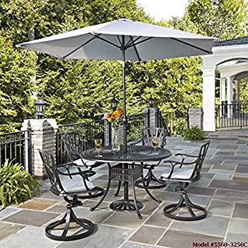 Home Styles 5560-32 Round Outdoor Dining Table, 48-Inch, Charcoal Finish