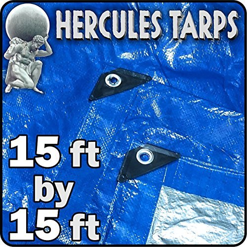 15' x 15' - Hercules Tent Shelter Tarp Cover Waterproof Tarpaulin Plastic Tarp Protection Sheet for Contractors, Campers, Painters, Farmers, Boats, Motorcycles, Hay Bales - Hercules Tarp - Blue/Silver by EasyGoProducts