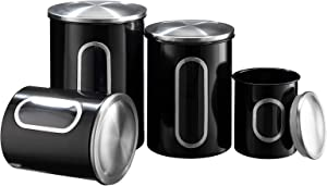 "PARANTA Farmhouse Food Storage Container Set 4-Piece Metal Kitchen Canisters Decor for Flour Sugar Coffee Tea Storage White Largest:9.45""X6.3"""