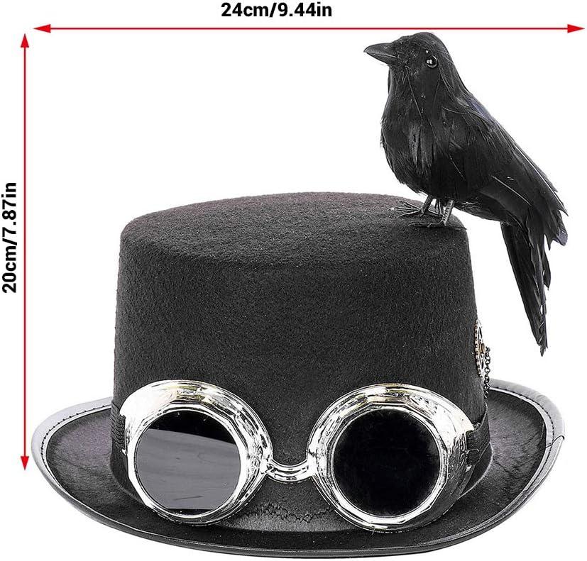 Peahop Cappello a Cilindro Steampunk Corvo Unisex e Cappello Decorativo Cosplay Occhiali per la Fotografia di Ruolo di Halloween