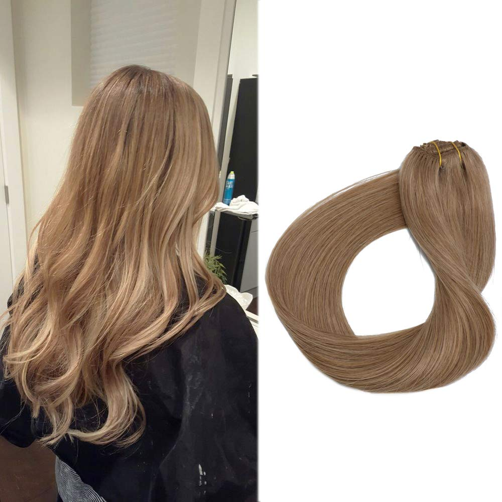 Amazon Clip Extensions Human Hair 15 Light Golden Brown And