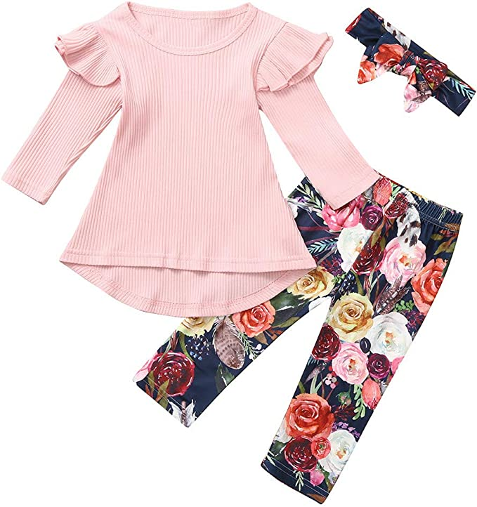 US Toddler Baby Girls Winter Clothes Floral T-shirt Tops+Pants Outfits Tracksuit