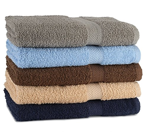 TowelFirst&Trade; 5-Pack Extra-Absorbent Bath Towel Set – Large, 27″ x 54″, 100% Cotton Bath Towels – Soft and Quick Drying – Best for Bath, Pool and Guest Use, Bonus – 2 12″ x 12″ Washcloths (Dark)