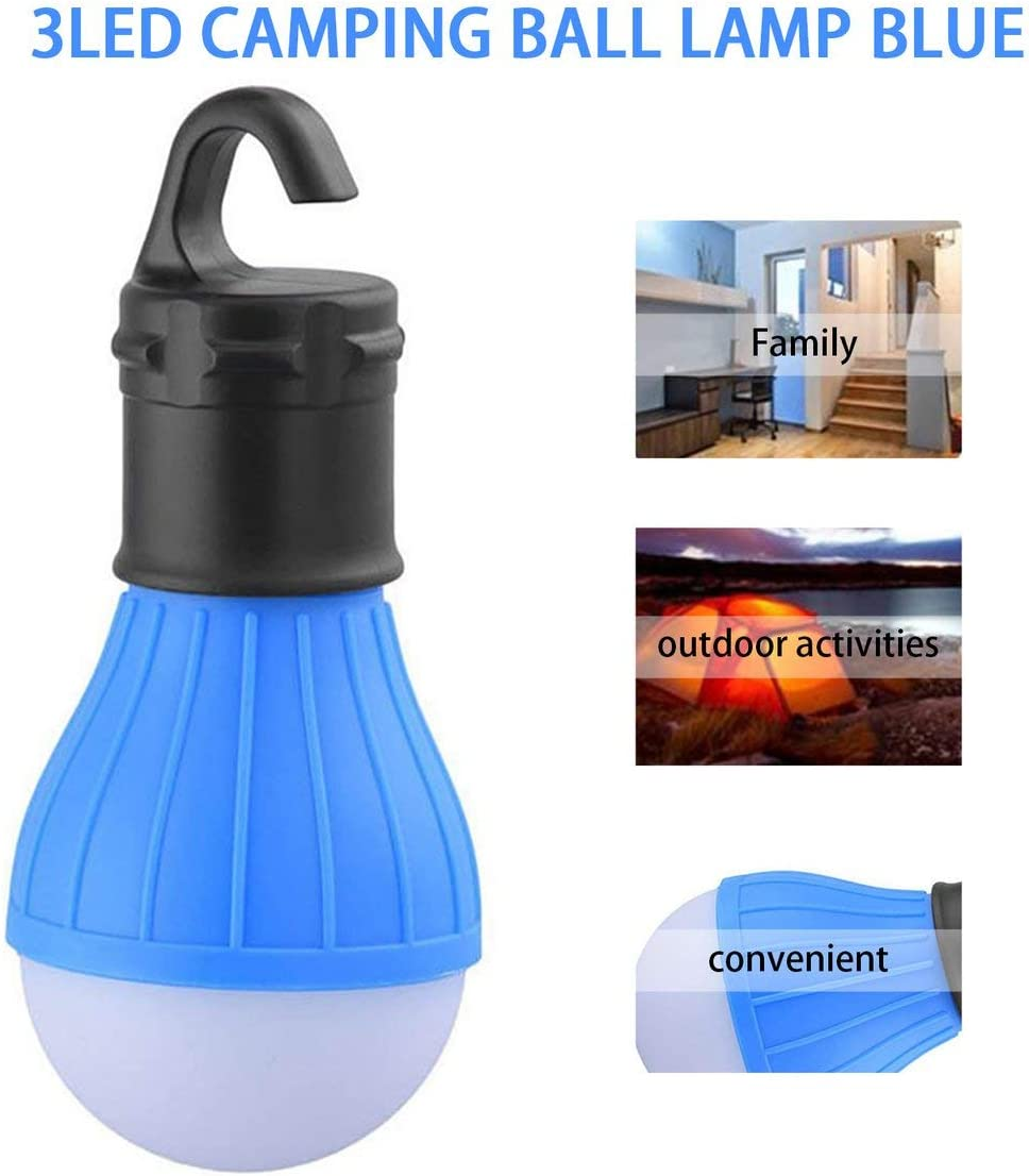 Sylvialuca 3 LED Ultra Bright Outdoor Handle Camping Lamp Plastic Tent Light Bulb With Lamp Hook For Fishing Hiking Hanging Lighting