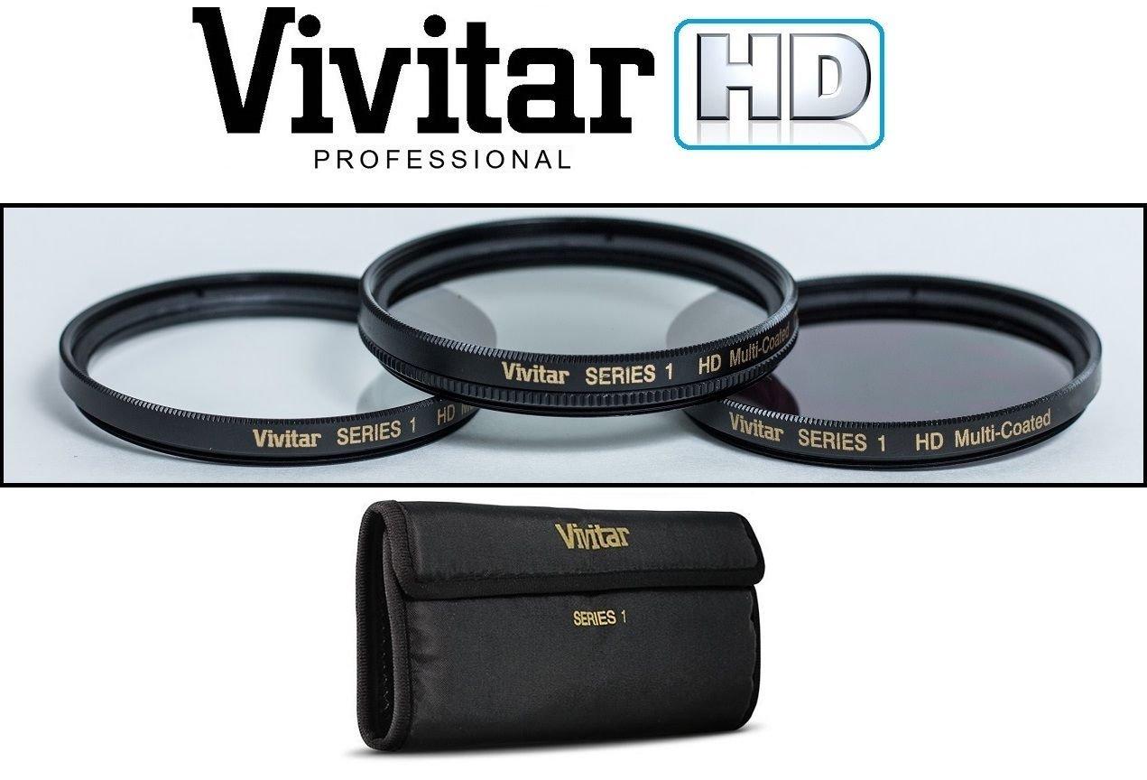 VIVITAR 3-PCS HI-DEF UV POLARIZER & ND8 FILTER KIT FOR SONY FDR-AX40 FDR-AX53 -vivitar
