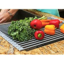 Over the Sink Drying Rack | Kitchen Dish Drainer | Supremely Versatile Dish Drying Tray | Rollable BPA-Free Silicone Coated Cooling Rack | Handy Drain Board Mat for Over Sink Salad Prep Grey by Trimm