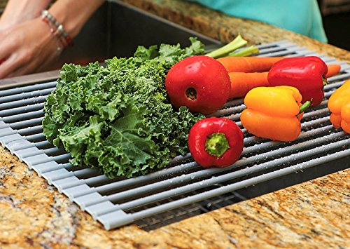 Over the Sink Drying Rack | Kitchen Dish Drainer | Supremely Versatile Dish Drying Tray | Rollable BPA-Free Silicone Coated Cooling Rack | Handy Drain Board Mat for Over Sink Salad Prep Grey by (Silicone Drain)