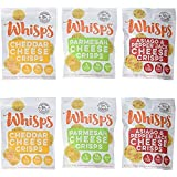 6 Pack Assortment, Cello Whisps Cheese Crisps: Cheddar, Parmesan, Asiago and Pepper Jack