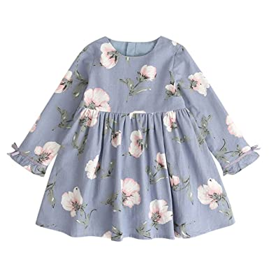 ee62cb0ddbe5 Toddler Kids Long Sleeve Princess Dresses Baby Girl Floral Print Bowknot  Knee-Length Party Cute Cotton Soft Clothes 3-7 Years: Amazon.co.uk: Clothing