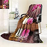 YOYI-HOME Digital Printing Duplex Printed Blanket Spa Decor Spa Flower Water Reflection Aromatherapy Bamboo Blossom Candlelight Summer Quilt Comforter /W47 x H79