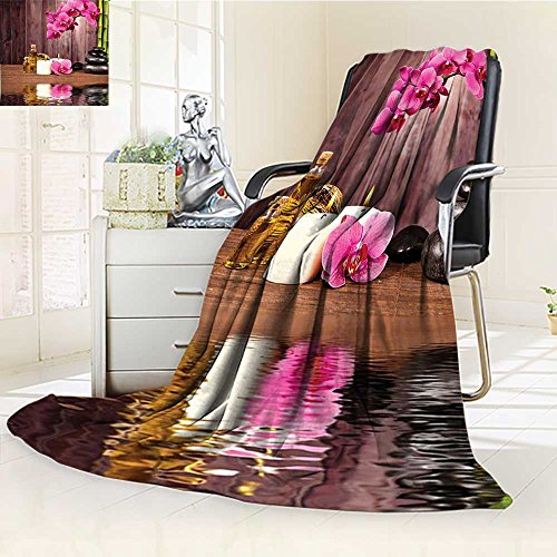 YOYI-HOME Digital Printing Duplex Printed Blanket Spa Decor Spa Flower Water Reflection Aromatherapy Bamboo Blossom Candlelight Summer Quilt Comforter /W47 x H79 by YOYI-HOME
