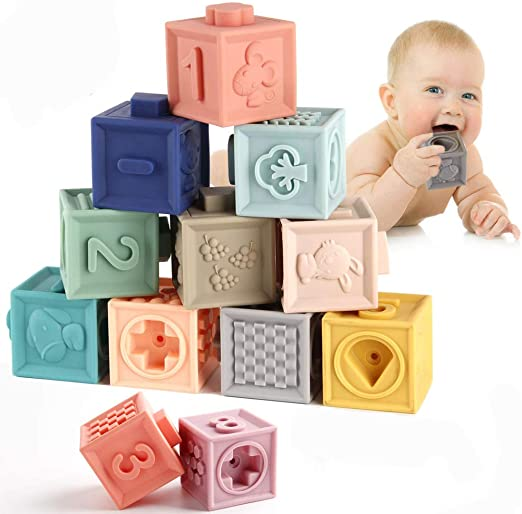 Baby Grasp Toy Soft Rubber Vinyl Embossed Building Blocks Infant Teethers Set UK