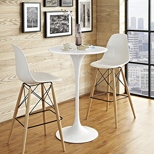 - Modway EEI-1825-WHI Lippa Mid-Century Modern Round Bar Table with Pedestal Base, 28