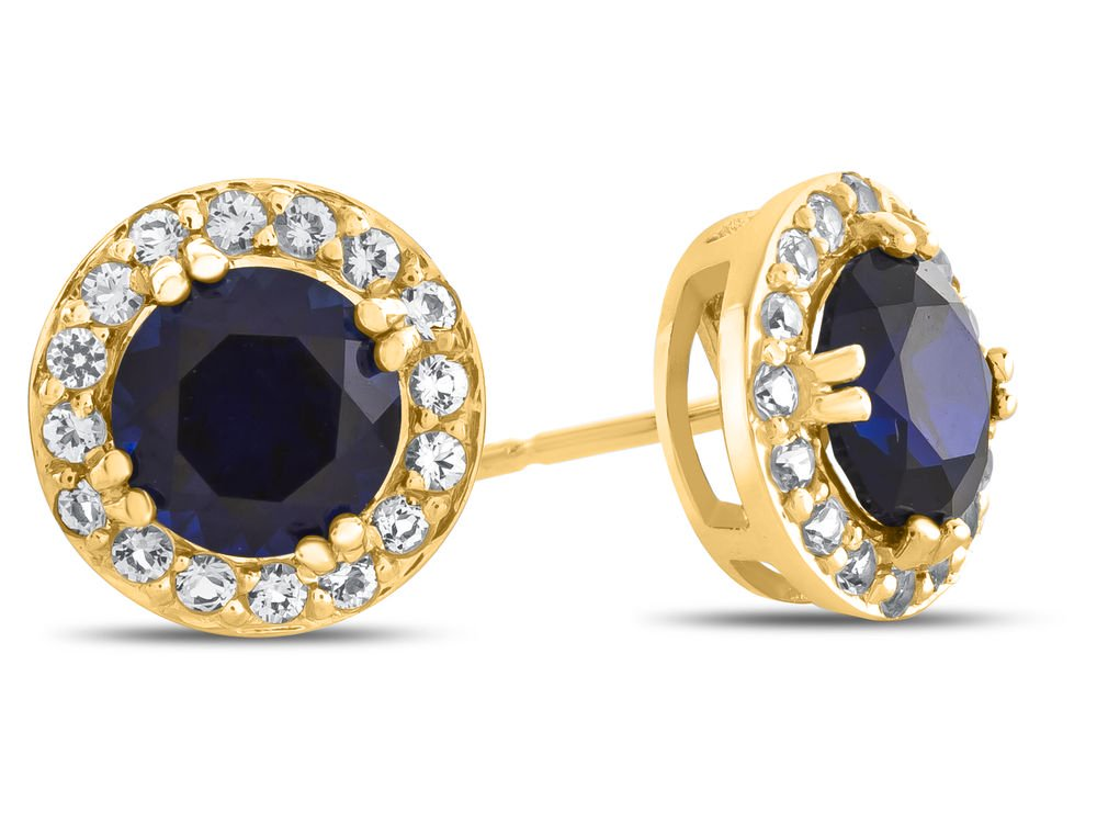 Finejewelers 14k Yellow Gold 6mm Round Created Sapphire with White Topaz accent stones Halo Earrings