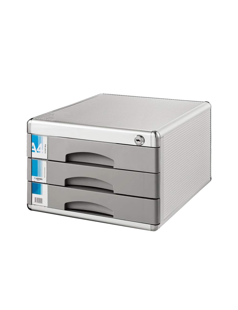File Cabinet Family Office Desktop Cabinet Storage Cabinet 3 Drawers File Storage Cabinet Aluminum Alloy, Medium Fiber Board 300x360x205mm Filing cabinets