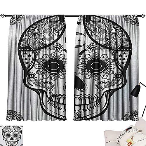 Michaeal Sugar Skull 2 Panel Darkening Curtains Vintage Style Hispanic Folklore Spiritual Art All Saints Holiday Mascot Curtain Darkening Blackout Black and White W63 x L63