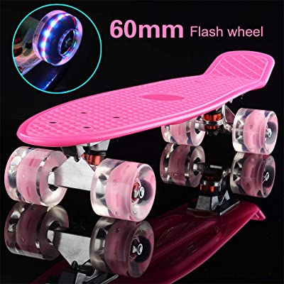 Skateboad Skate Board, Skateboard 22x6 Inch Plastic Board Comes Complete with Skateboards Sturdy Deck for Beginner Kids Boys Girls Teens 3 Up Years Old (Color : G): Home & Kitchen