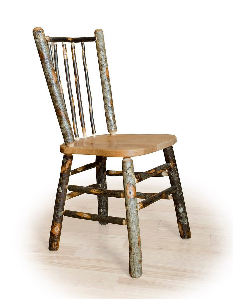 Set of Two Hickory Stick Back Rustic Dining Chairs