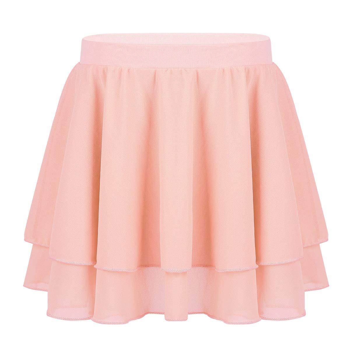 inlzdz Kids Girls Ballet Dance Classic Chiffon Pleated Skirt Pull-On Leotard Tutu Skirt Dancewear Costumes