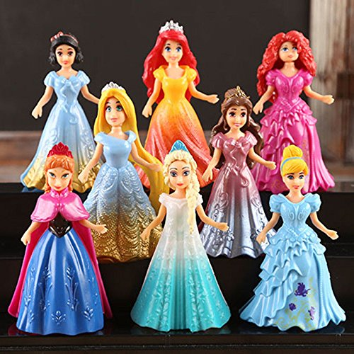 8pcs Cute Princess Action Figures Changed Dress Doll Kids Girl Toy XMAS Gift (Alien Princess Costume)