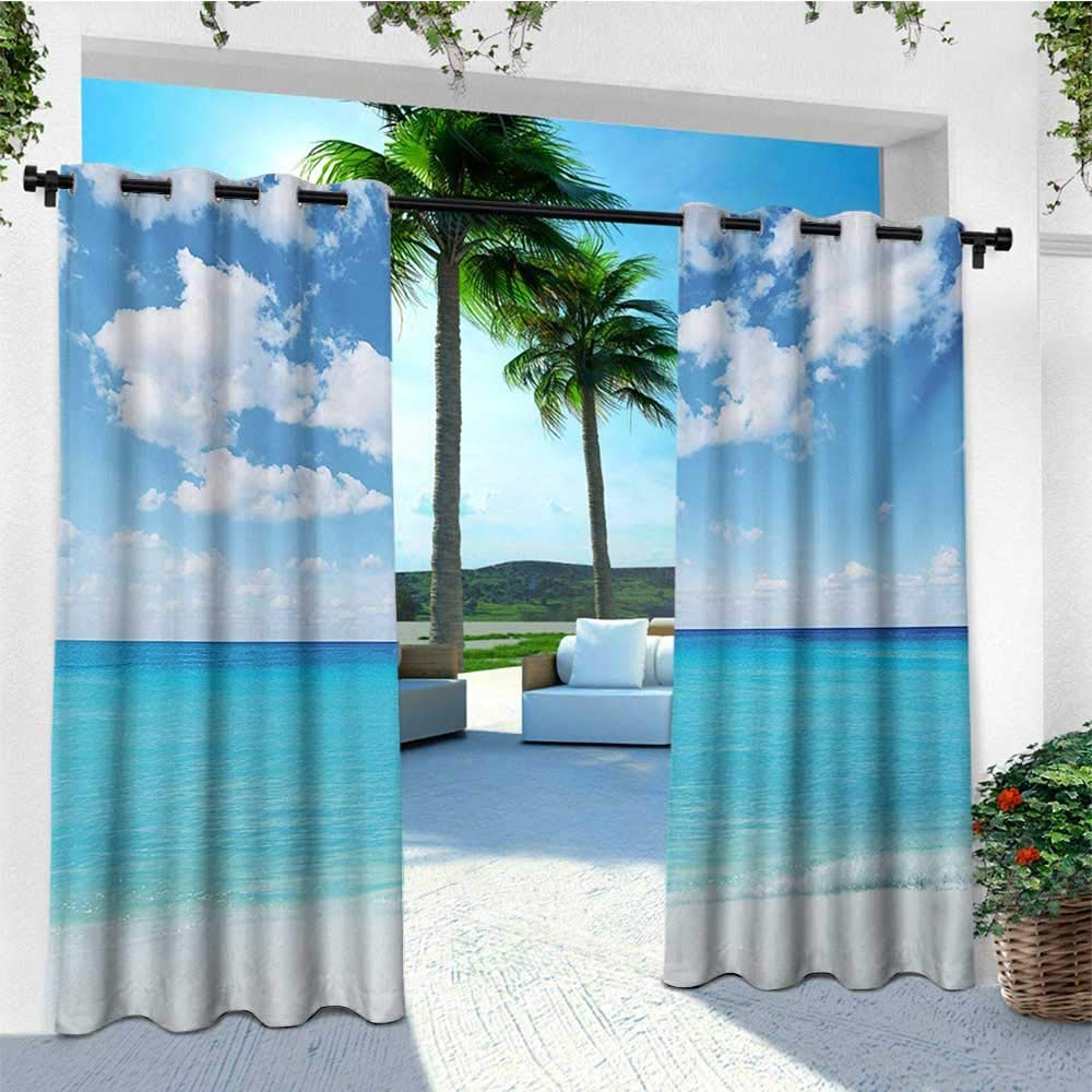 leinuoyi Ocean, Sun Zero Outdoor Curtains, Surreal Tropical Seascape with Dreamy Sea and Sky Paradise Coast Hawaiian Art, for Privacy W96 x L96 Inch Turquoise White