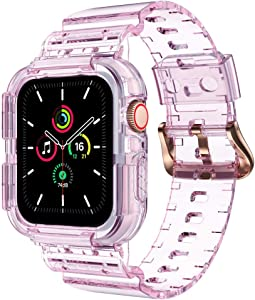 Clear Watch Band for Apple Watch 38mm 40mm, Transparent Sports iWatch Band with Case Replacement Strap for Apple Watch Series 6/5/4/3/SE(40mm, pink)