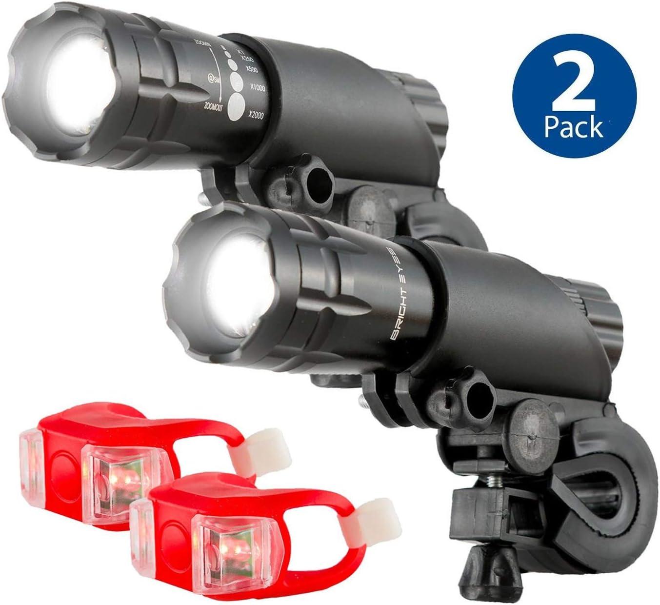 Bright Eyes Aircraft Aluminium Waterproof 300 Lumen LED Bike Light Set Headlight, TailLight , 2 Pack