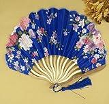 Deep Blue Summer Style Folding Hand Held Fan Fabric Floral Wedding Dance Favor Pocket Fan 1Pcs