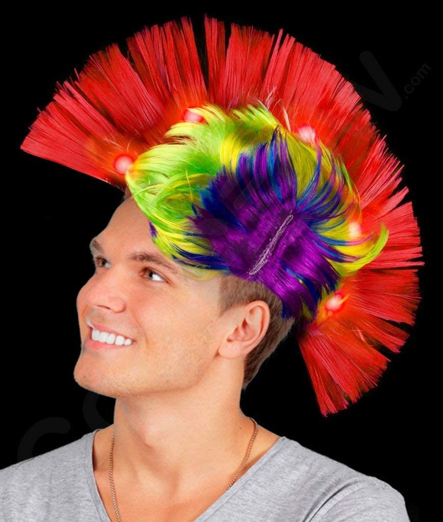 Multicolor Light Up MoHawk Wigs Fun Central AD156 LED Light Up Mohawk Wig