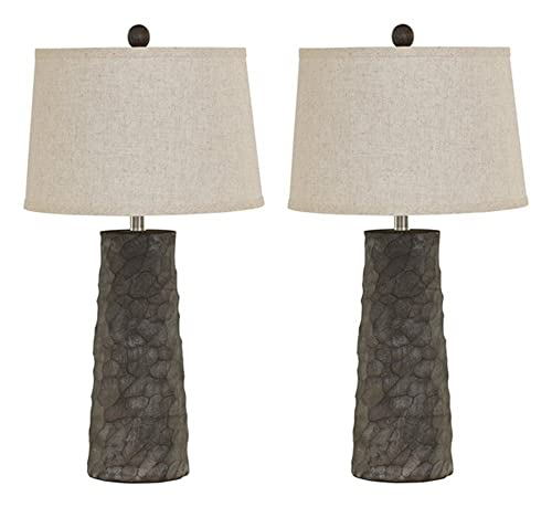 Contemporary Poly Table Lamp in Gray – Set of 2