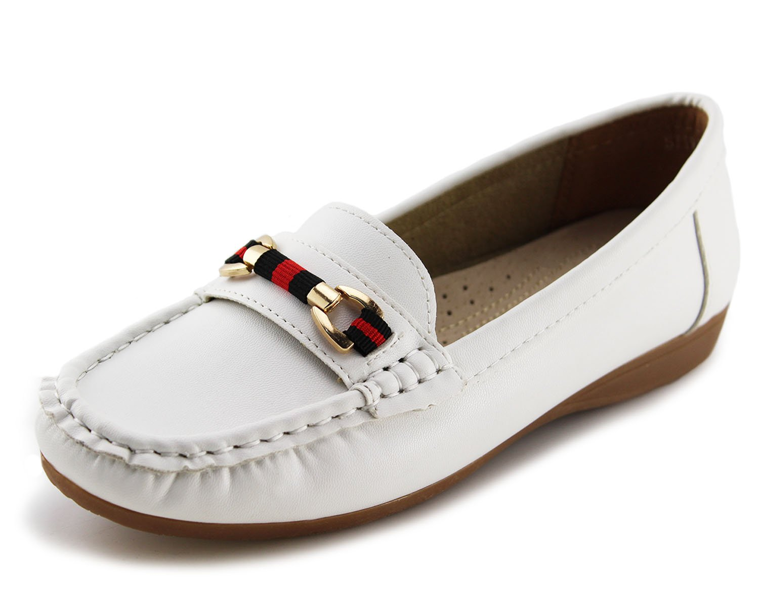 Jabasic Women's Slip-on Loafers Flat Casual Driving Shoes(7.5, White-1)