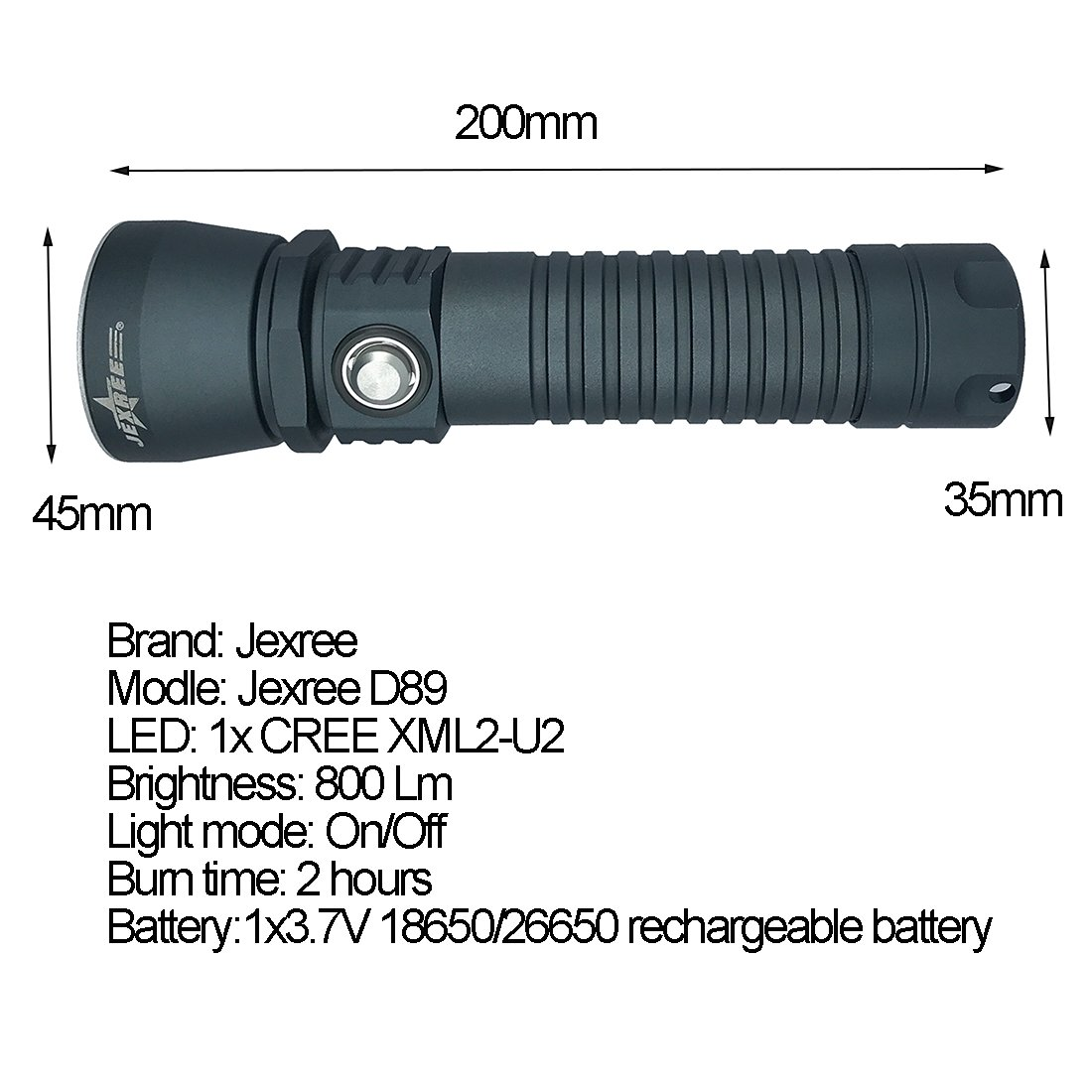 Amazon.com: Jexree D89 - Linterna de buceo profesional ...