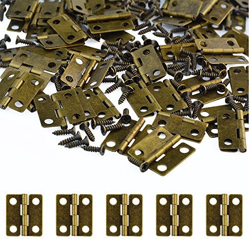 100 Pcs Small Box Hinges 18x16mm Antique Bronze Mini Hinges Retro Butt Hinges with 400Pcs Hinge Screws, Wobe Vintage Small Folding Butt Hinges for Ssmall DIY Projects Jewelry Box doll houses