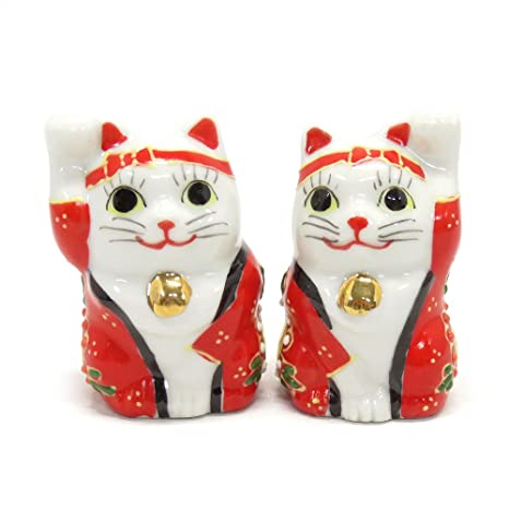 Amazon com: Kutani Japanese Pair Maneki Neko Lucky Carnival