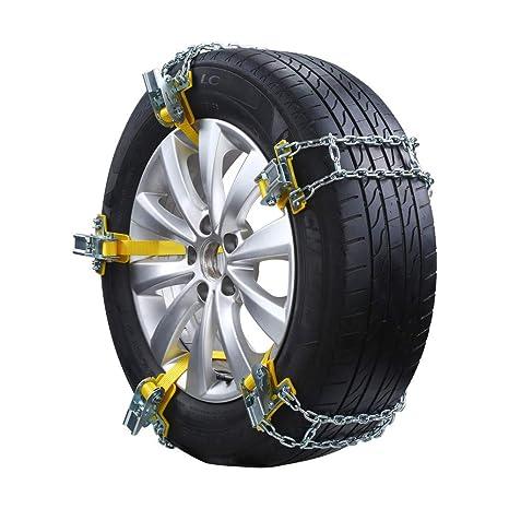 GSYDXL Cadena Antideslizante para Llantas 3 Tamaño de Acero Duradero Neumáticos universales Cadenas para la Nieve Coche de Invierno Cinturón de Seguridad de ...