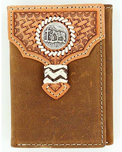 Nocona Men's Basketweave Overlay Cowboy Prayer Concho Tri-Fold Wallet Med Brown One (Nocona Mens Concho)
