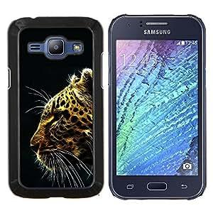 KLONGSHOP // Cubierta de piel con cierre a presión Shell trasero duro de goma Protección Caso - Patrón Glow Leopard - Samsung Galaxy J1 J100 //