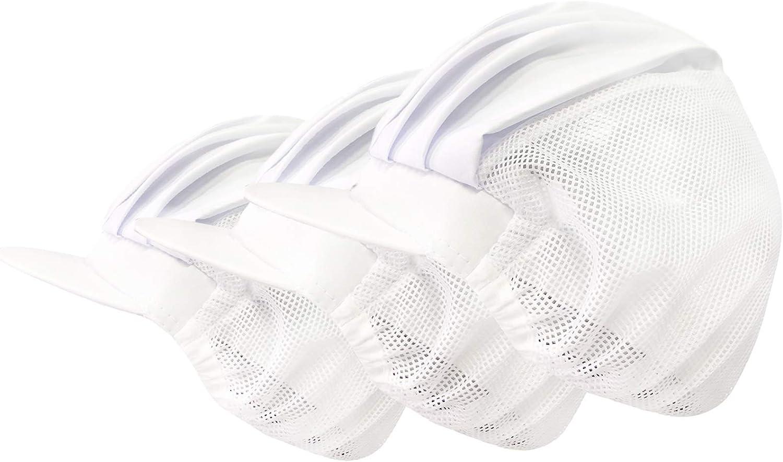 3 Pack Elastic/Drawstring Chef Cap Mesh Cooking Hat Food Service Hair Nets Kitchen Net Reusable Restaurant Beanie