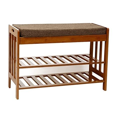 Amazon.com: WUFENG Footstool Shoe Shelf Rack Madera Maciza ...