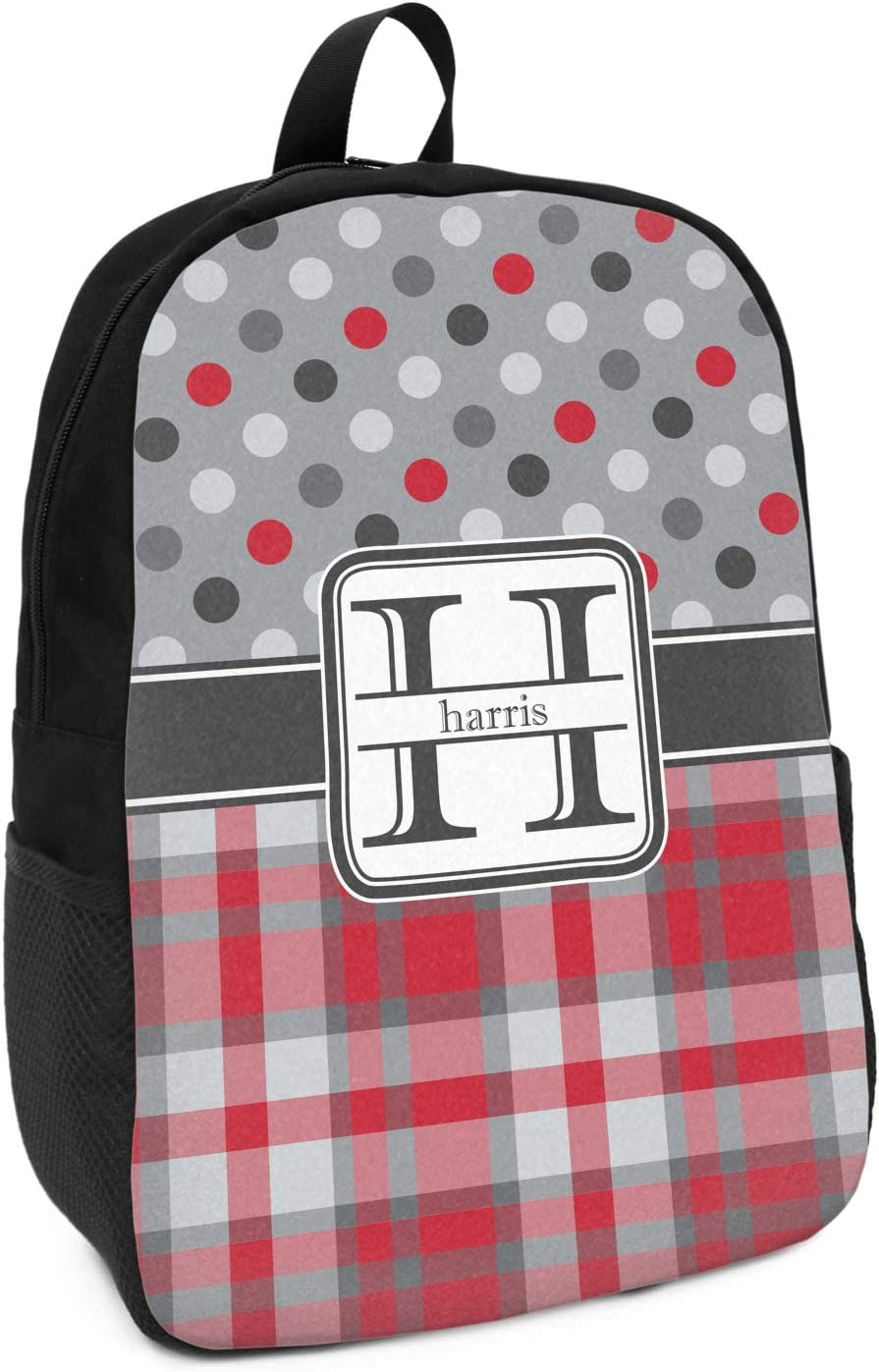 Red /& Gray Dots and Plaid Kids Backpack Personalized