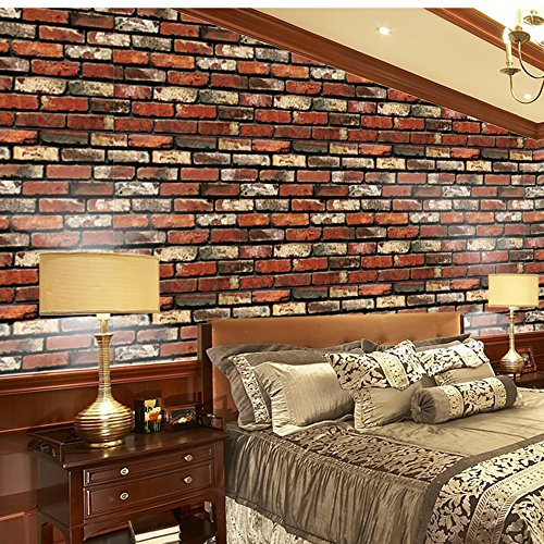 Price comparison product image BCDshop Wall Murals,  3D Wall Paper Brick Stone Rustic Effect Self-adhesive Wall Sticker Home Decor