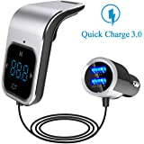 FM Transmitter with Bluetooth 4.2/QC3.0 Car Charger/Bluetooth Receiver, ELE King Touch Control Design Wireless in-Car Bluetooth FM Transmitter Radio Adapter Car Kit,2 USB Ports,Voice Navigation,TF/SD…