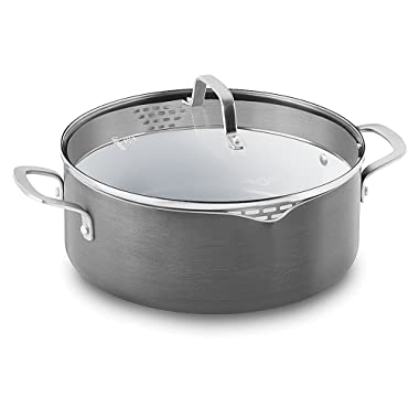 Calphalon 1937382 Classic Ceramic Nonstick Dutch Oven with Cover, 5 quart, Grey/White