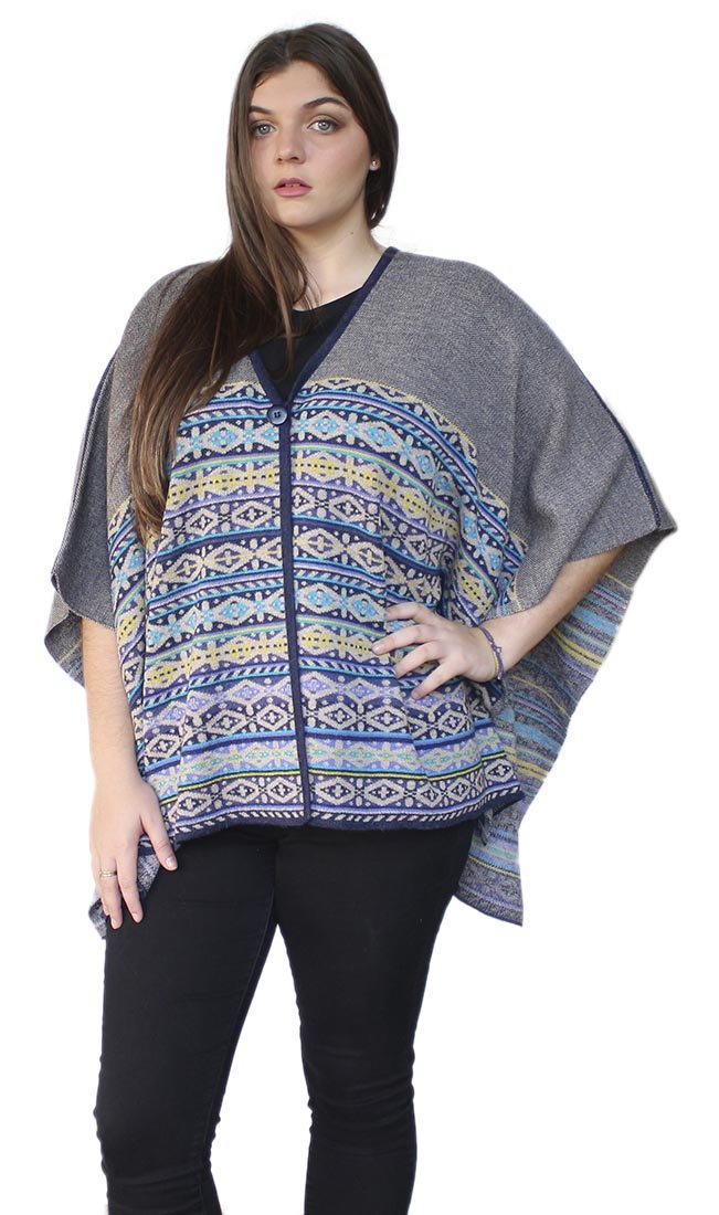 Women's Soft And Warm Superfine 100% Baby Alpaca Wool Handmade V-Neck Knit Knitted Cape Cloak One Size (Navy Blue-Beige-Yellow)