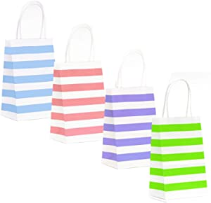 12-Count Stripes Kraft Bags - Premium Paper Pastel Color Bags with Handles, Biodegradable & Sturdy, Food Safe Shopping Bag, Gift Bag (Pastel, 12 Ct Small)